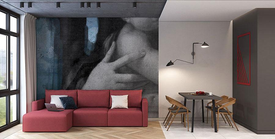 Come abbinare il divano rosso all'arredamento e alle pareti