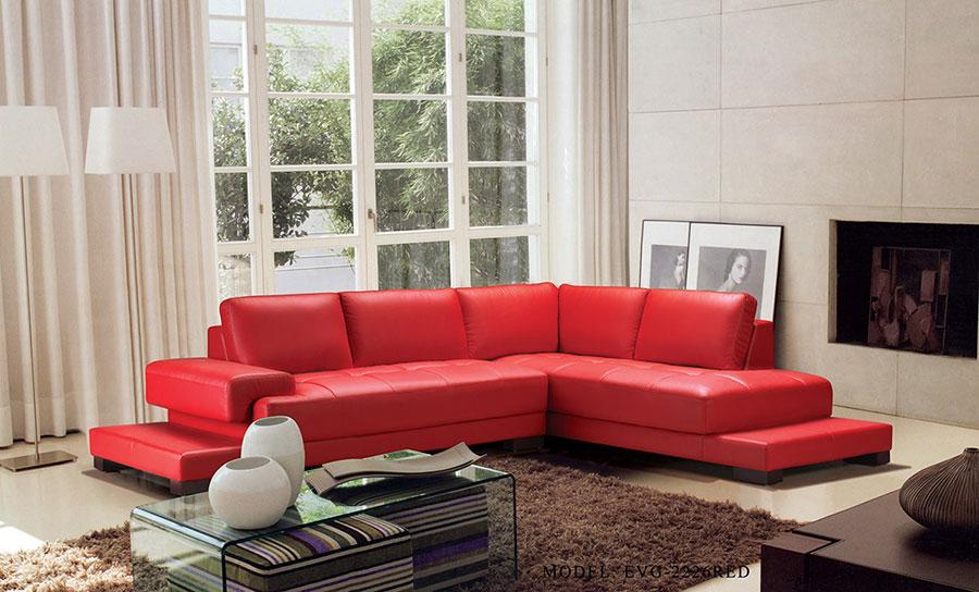 Modello di divano rosso in pelle n.02