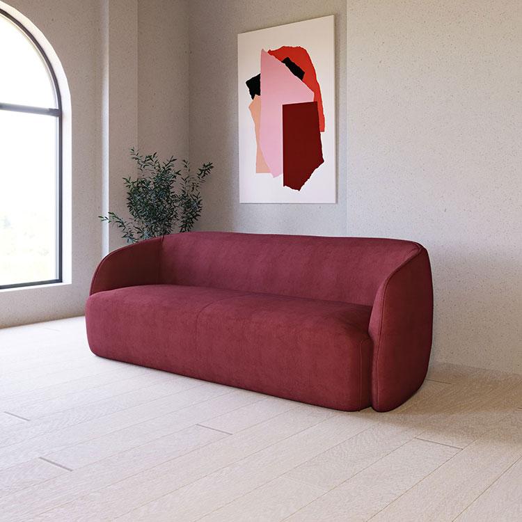 Modello di divano rosso in velluto n.01