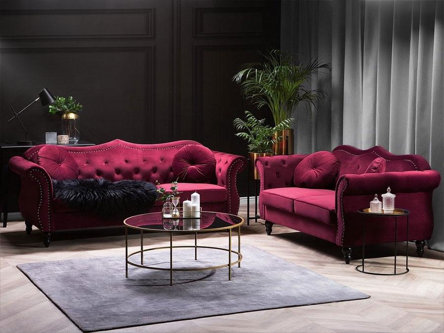 Modello di divano rosso in velluto n.04